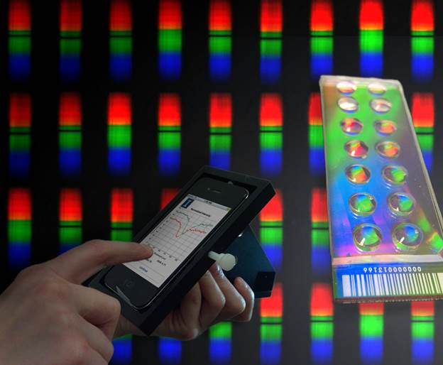A student uses the smartphone application to compare wavelength shifts