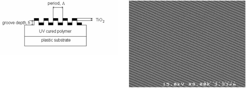 Figure 1. Device cross-section schematic and SEM photo (plan view) of a photonic crystal biosensor based on a 1-dimensional linear grating structure.