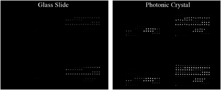 Figure 6. Images of identical DNA microarray experiments performed on a glass slide and a photonic crystal.  Both microarrays have the same probe sequences and were exposed to the same soybean nucleic acid sample.  The photonics crystal-enhanced fluorescence allows for detection of many sequences that cannot be detected on the glass slide.