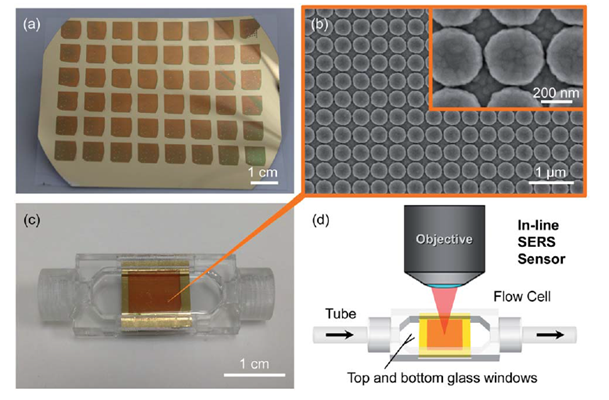 Figure 4. Real view of a set of sensor devices (a); SEM image of the plasmonic structure (b); flow cell with sensor device (c); schematic of in-line fluidic sensing system (d)