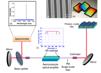 Figure 5. Schematic of the external cavity laser biosensor system. (a) Scanning electron microscope image of the PC structure. (b) PC resonator in standard microplate-based formats. (c) The small signal gain spectrum of the SOA. (d) A typical lasing spectrum of the PC based ECL.