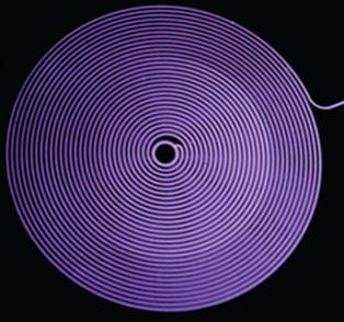 A spiral microplasma channel having a length of 1 m and transverse dimensions of 150 by 80 µm2.